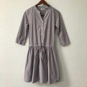 Uniqlo dropped waist drawstring chambray dress S